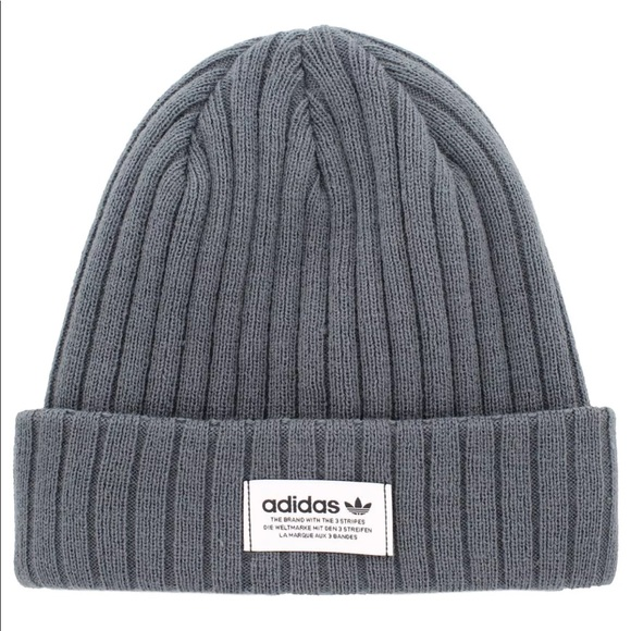 31865322b Adidas New w/tags Ori Wide Ribbed Beanie hat Onyx Boutique
